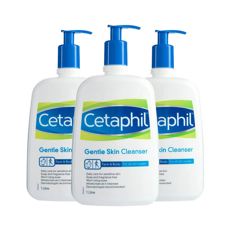 Cetaphil Gentle Skin Cleanser Triple Pack, 3x1L