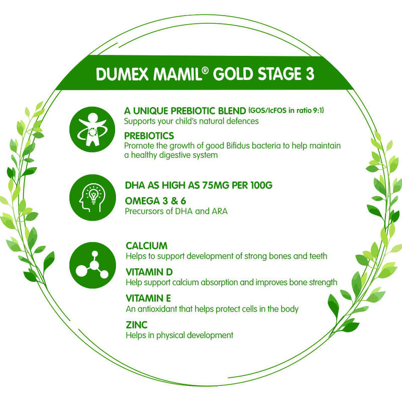 Dumex Mamil Gold Stage 3 Growing Up Kid Milk Formula (850g)