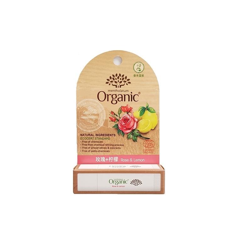 Mentholatum Organic Certified Lipbalm Rose & Lemon, 3.5g