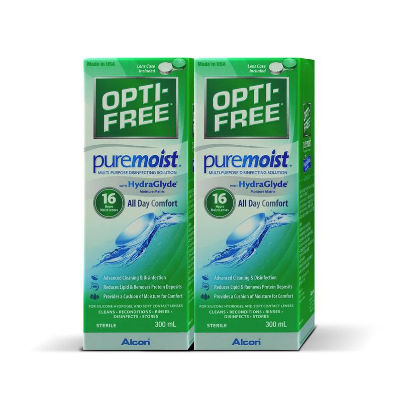 Opti-Free® PureMoist® Multi-Purpose Disinfecting Solution 300mL X2 bottles +Hand Sanitizer