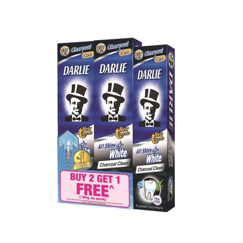 Darlie All Shiny White Charcoal Clean Toothpaste 2X140g+ Free 90g