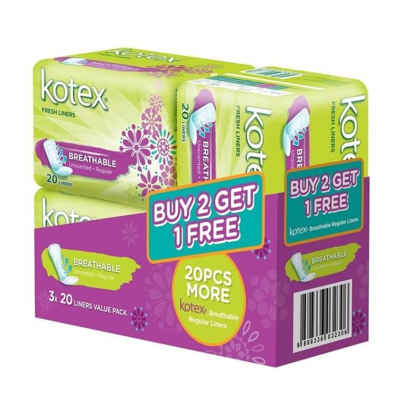 Kotex Fresh Liners B2G1 Value Pack 20s x 3 Packs