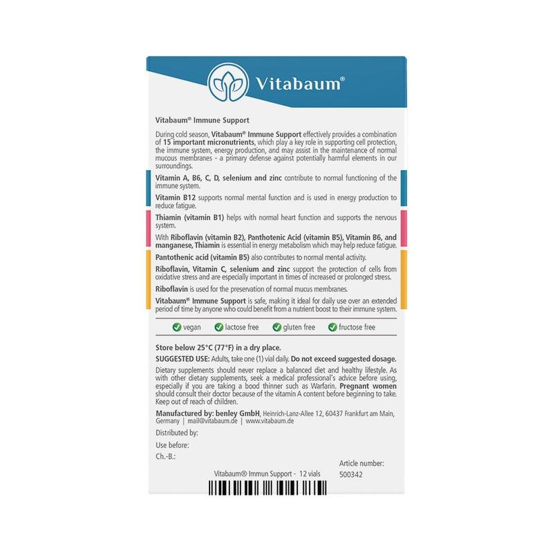 Vitabaum  Immune Support Vitamins 12 vials, 10ml each