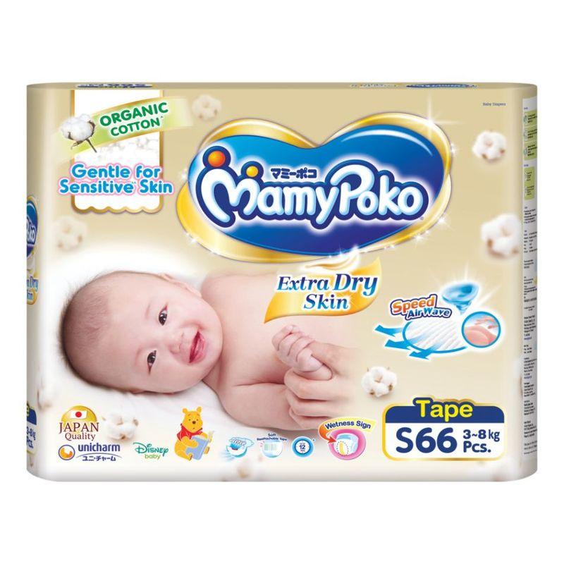 Mamy Poko Extra Dry Skin Organic S, 66pcs