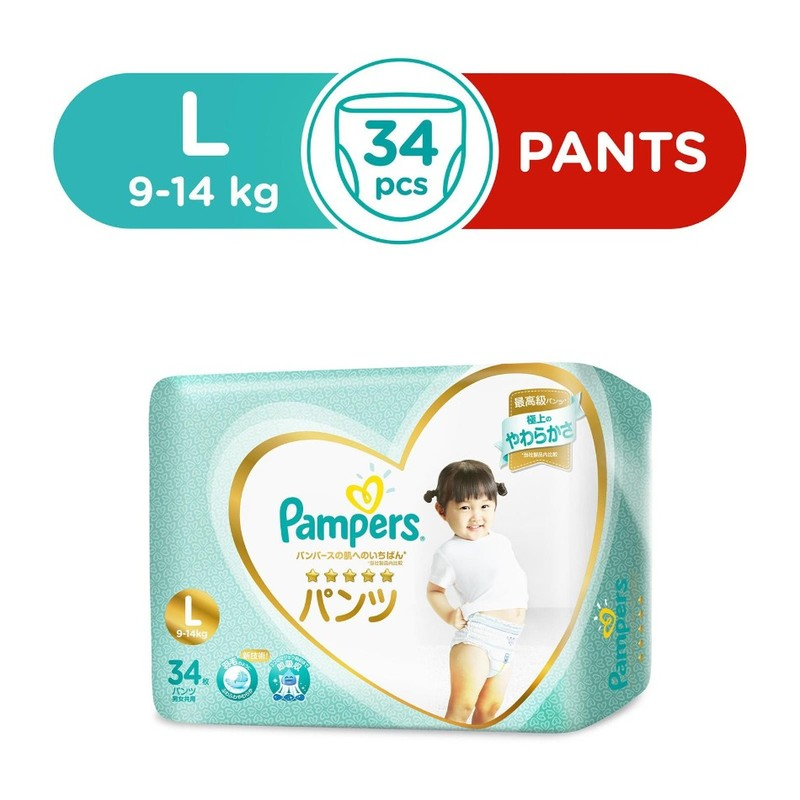 Pampers Silk Pants L, 34pcs