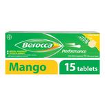 Berocca Performance Vitamin B Mango Energy Effervescent Tablet, 15 tablets
