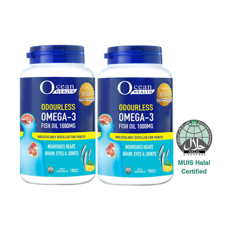 Ocean Health Odourless Omega 3 1000mg Twin Pack, 2x180 softgels
