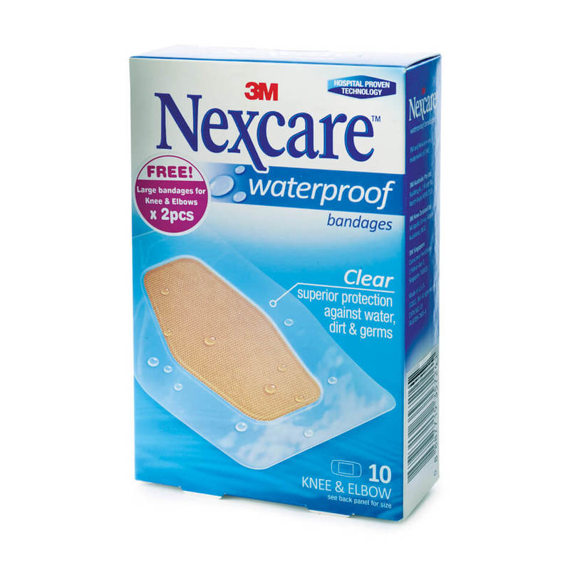 Nexcare Waterproof Bandage Knee & Elbow, 10pcs