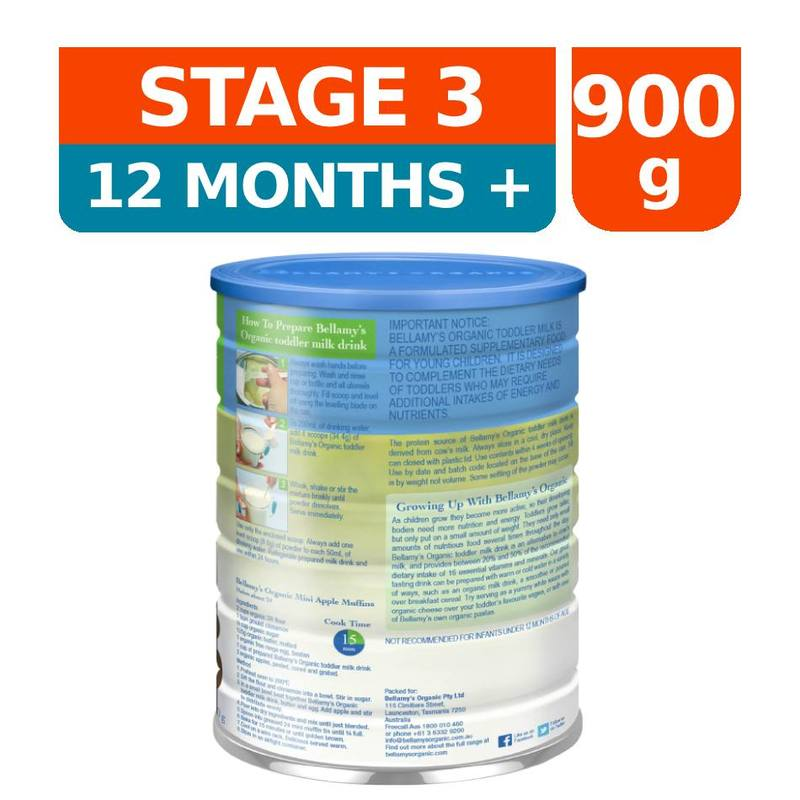 Bellamy's Toddler Milk Stage 3, 900g