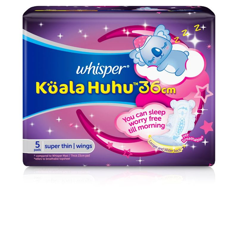 Whisper Koala Huhu Maximum All Night Super Thin Wings 36cm, 5pcs
