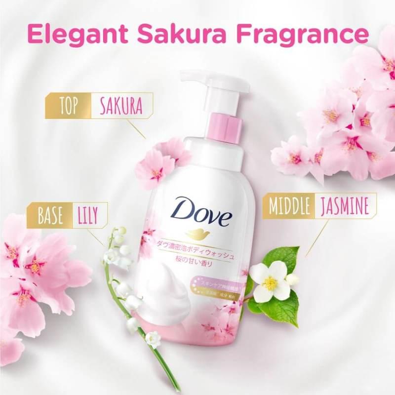 Dove Sakura Self-Foaming Cloud Foam Body Wash 400ml