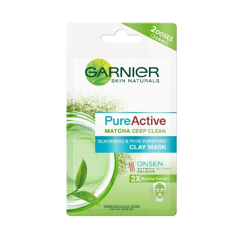 Garnier Pure Active Matcha Deep Clean Blackhead & Pore Purifying Clay Mask 2X6ml