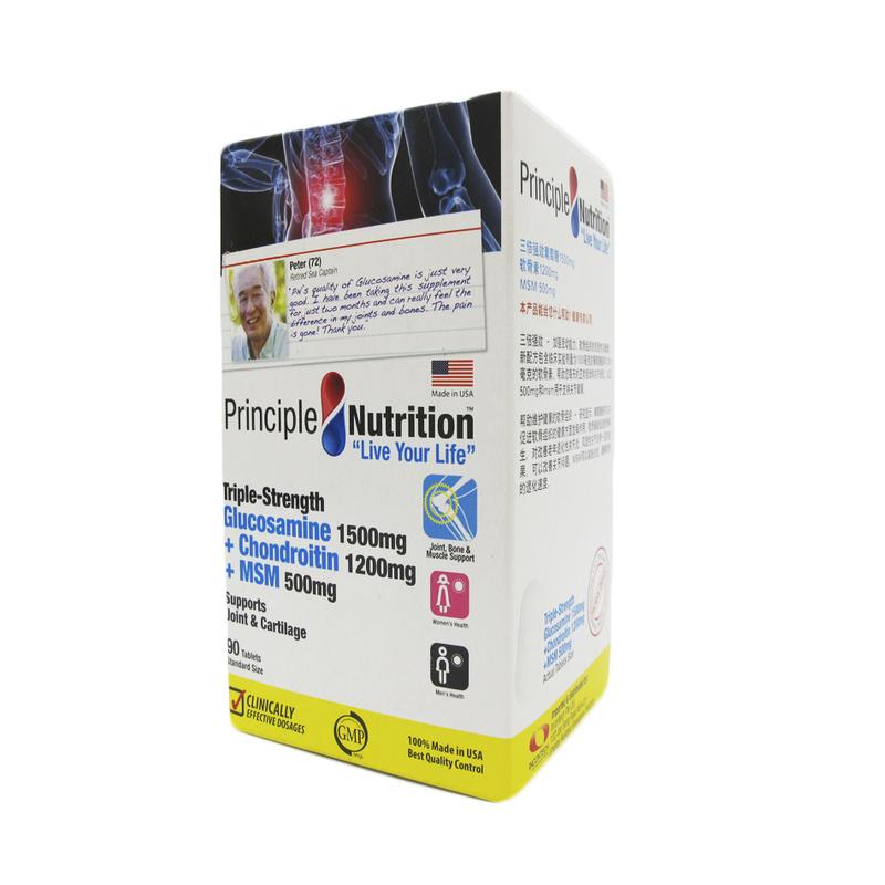 Principle Nutrition Triple Glucosamine + Chondriotin + MSM, 90 tablets