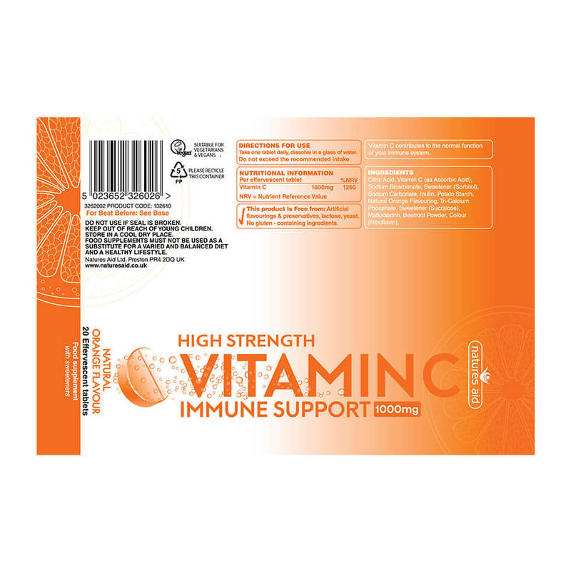 Natures Aid Vitamin C 1000mg Effervescent, 20 tablets
