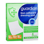 Guardian Non-Adherent Dressing Pads 7.5 X 7.5cm, 5pcs
