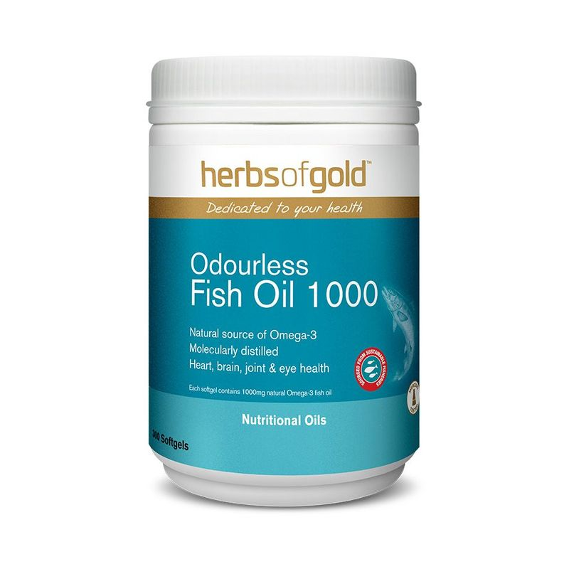 Herbs of Gold Omega-3 Odourless TG Fish Oil 300 Softgels
