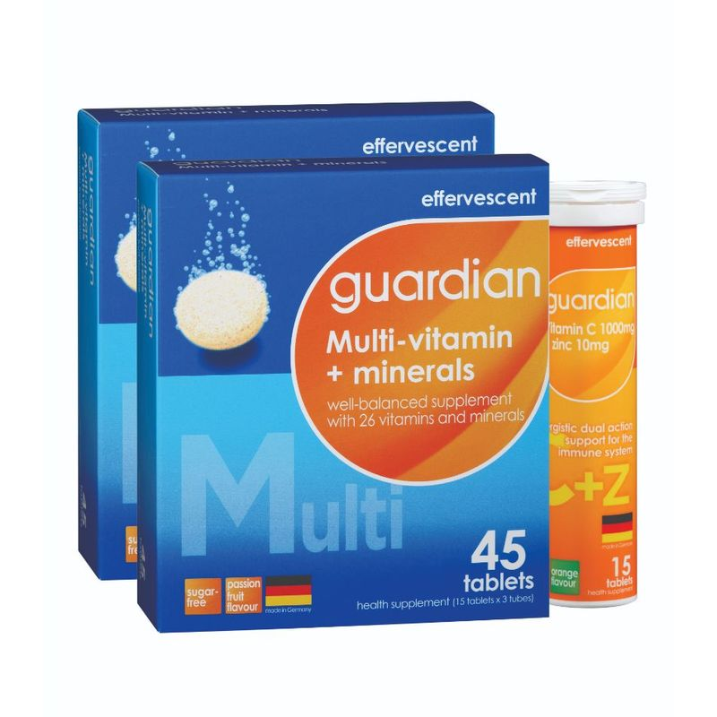 Guardian Multi-Vitamin + Minerals with Vitamin C 1000mg + Zinc 10mg Effervescent Bundle