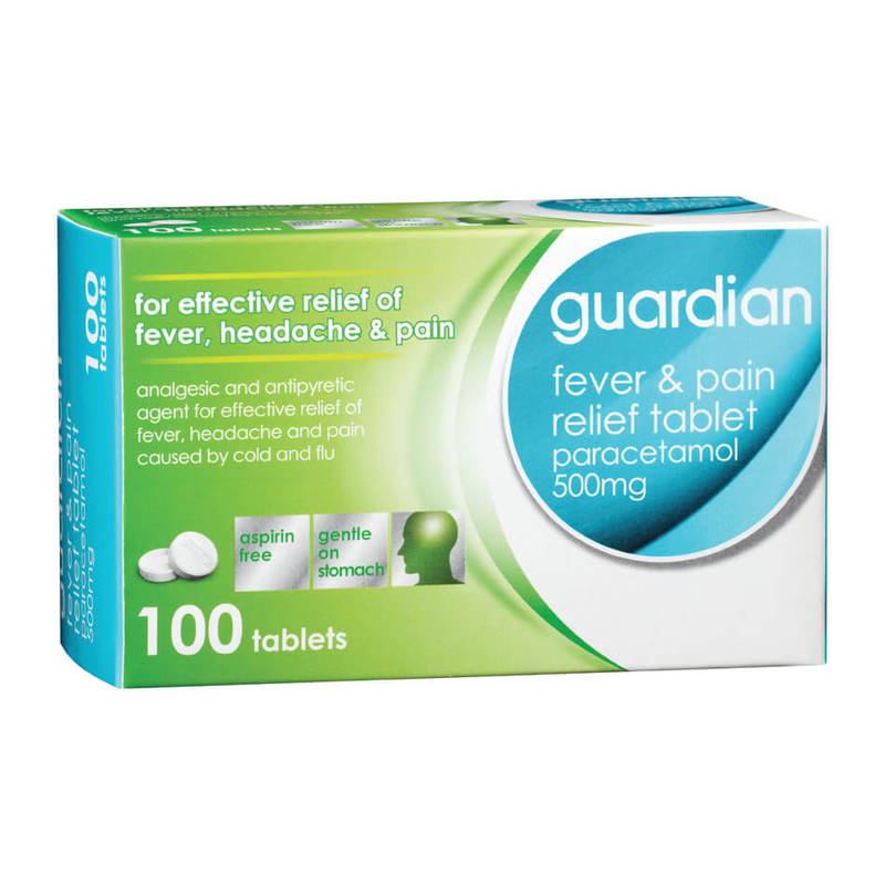 Guardian Fever & Pain Relief Tablet Paracetamol 500mg, 100 tablets