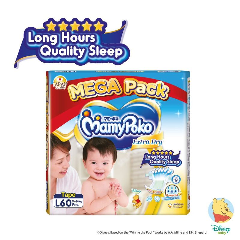 Mamy Poko Extra Dry Tape L, 60pcs