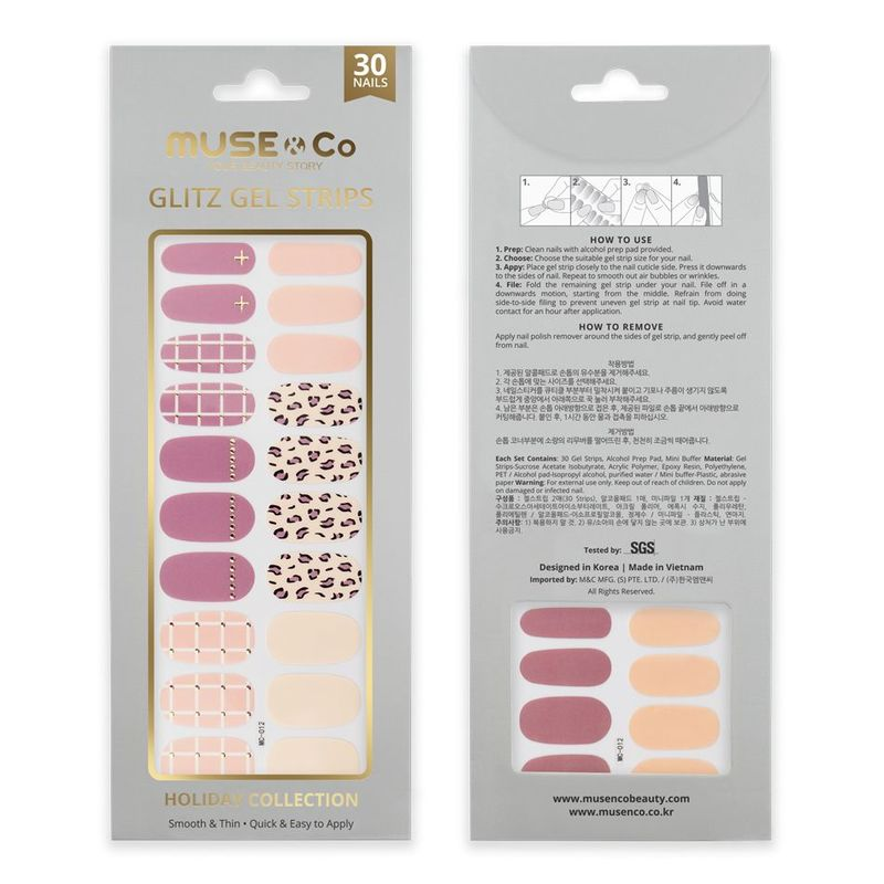 MUSE & Co - Glitz Gel Strips - Leopard Checks