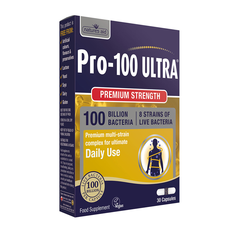 Natures Aid Pro-100 Ultra 100 Billion Bacteria, 30 capsules