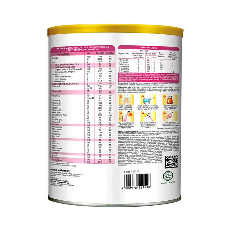 Dumex Mamil Gold Stage 1 Infant Newborn Baby Milk Formula (850g)