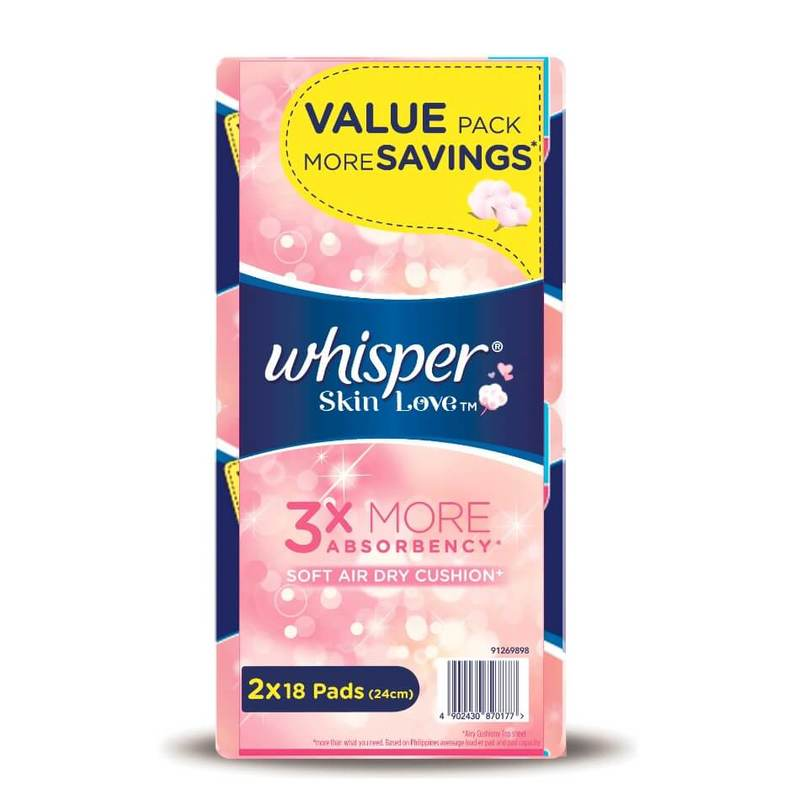 Whisper Skin Love Ultra Slim Normal Flow 24cm Twin Pack, 2x18pcs