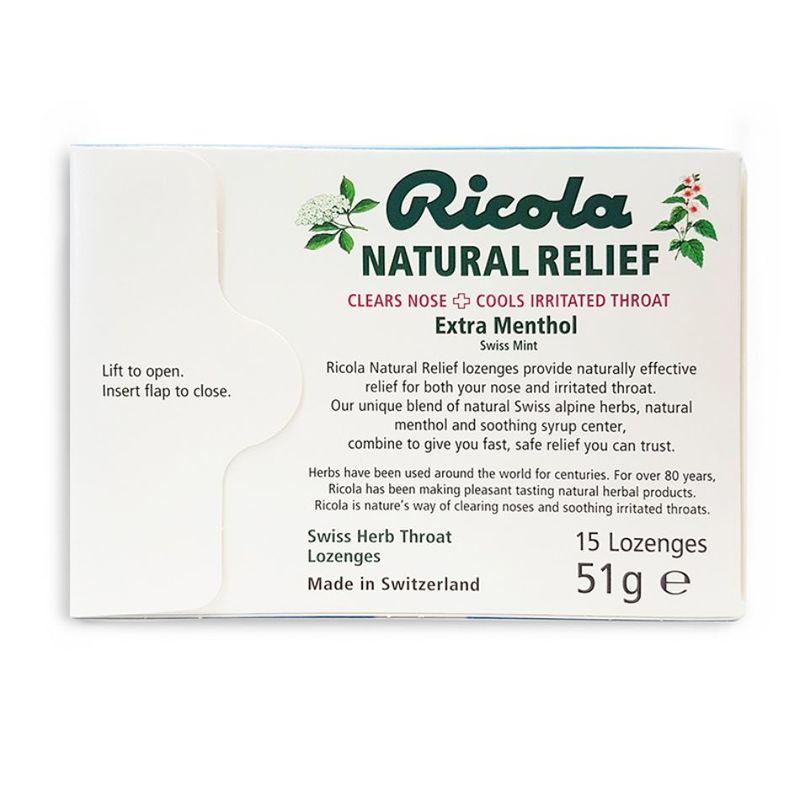 Ricola Natural Relief Lozenges Extra Menthol Swiss Mint, 15pcs