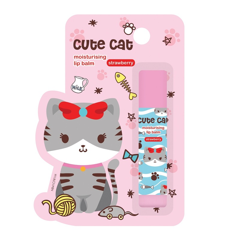 Mannings Cute Cat Strawberry Moisturising Lip Balm 4.5g