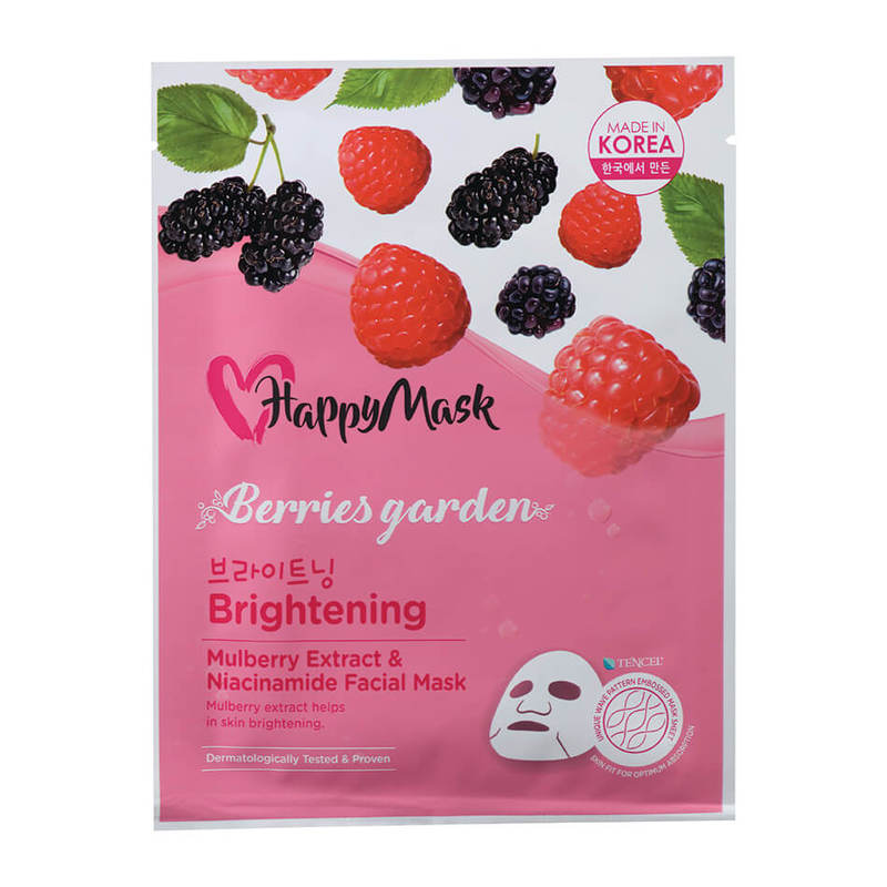 HappyMask Berries Garden  Mulberry Extract & Niacinamide Facial Mask Brightening