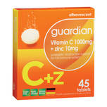 Guardian Vitamin C 1000mg + Zinc 10mg, 3x15 tablets