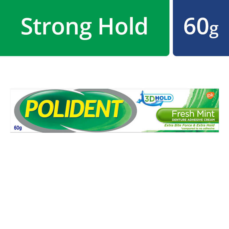 Polident Denture Adhesive Full & Partial False Teeth Fixative Mint, 60g