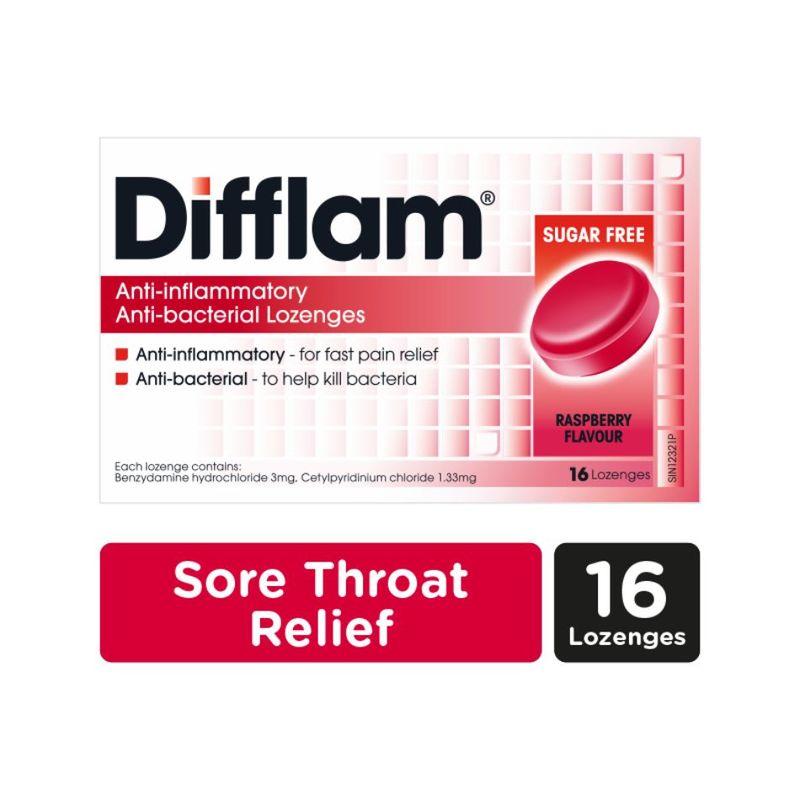 Difflam Anti-Inflammatory Anti-bacterial Raspberry Sugar Free Lozenges, 16pcs