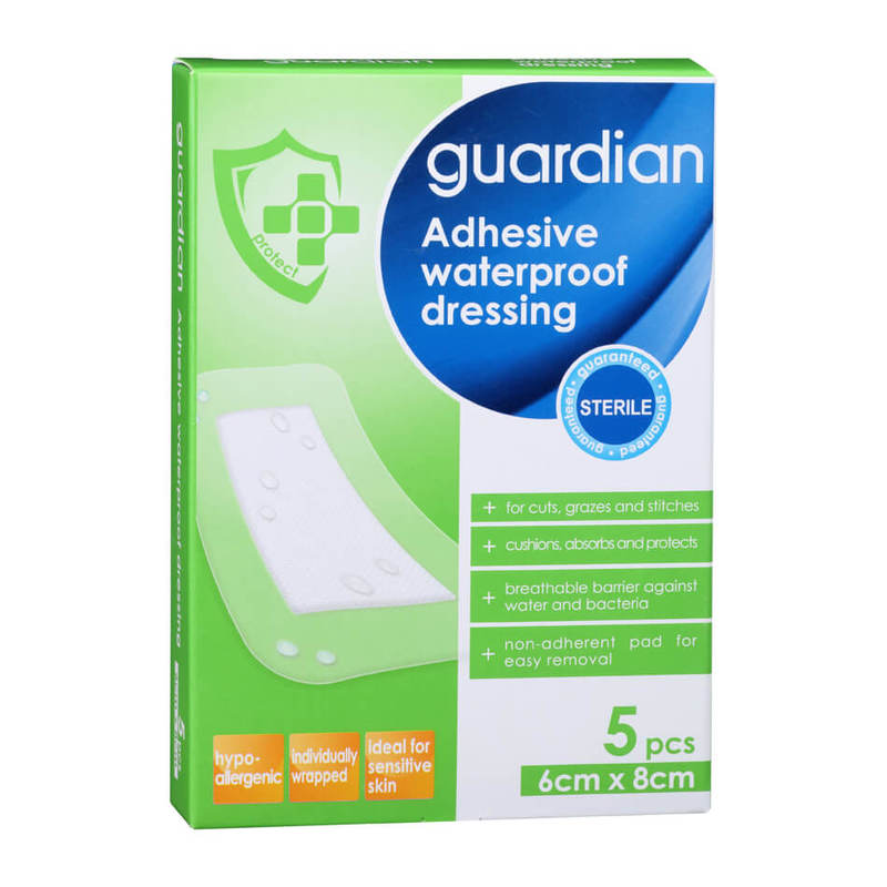 Guardian Adhesive Waterproof Dressing 6cm X 8cm, 5pcs
