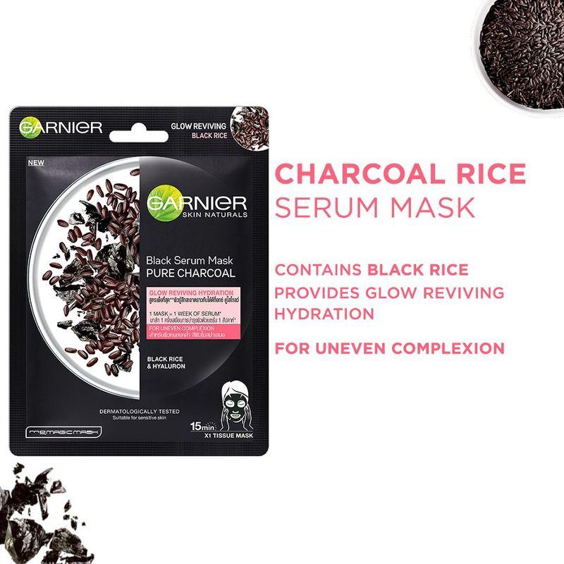 Garnier Black Serum Mask Pure Charcoal Black Rice- Purifying & Hydrating Glow Reviving Tissue Mask