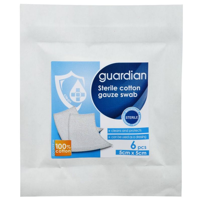 Guardian Sterile Cotton Gauze Swab 8ply 5cm X 5cm, 6pcs