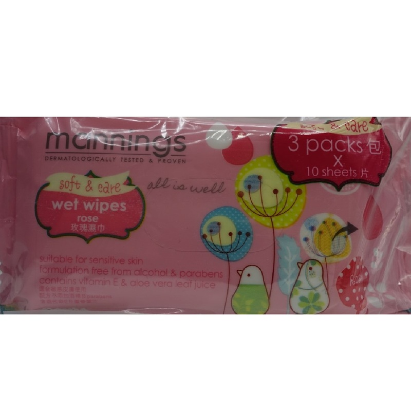 Mannings Rose Wet Tissue10pcs X3bags
