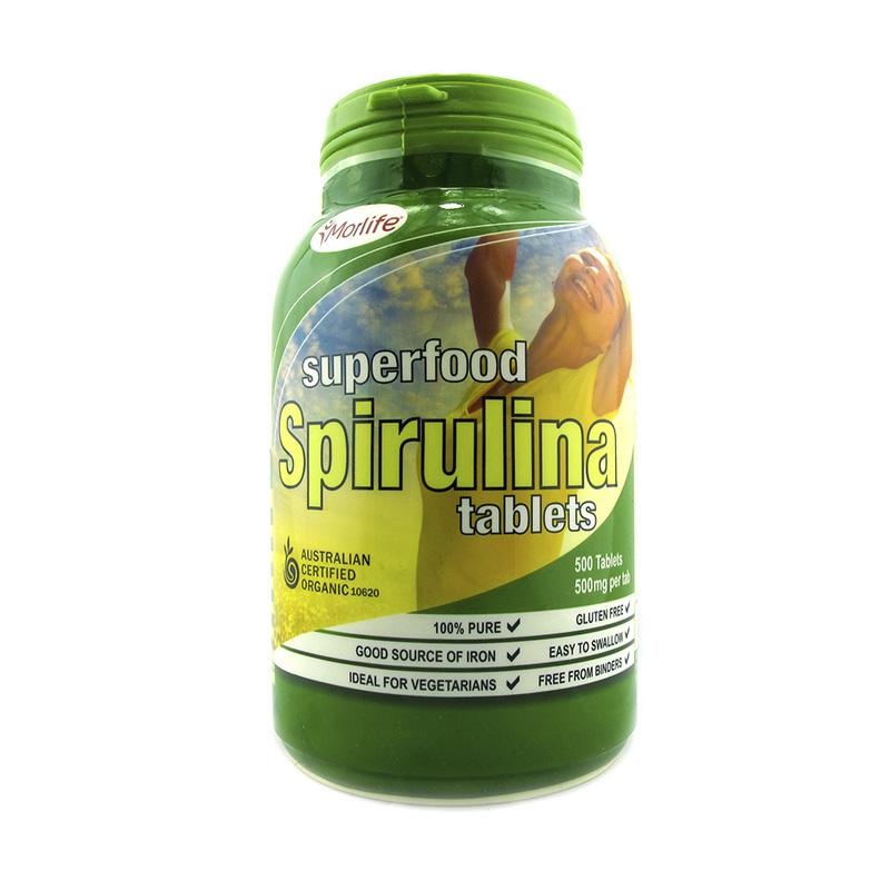 Morlife Certified Organic Spirulina Tablets, 500 tablets