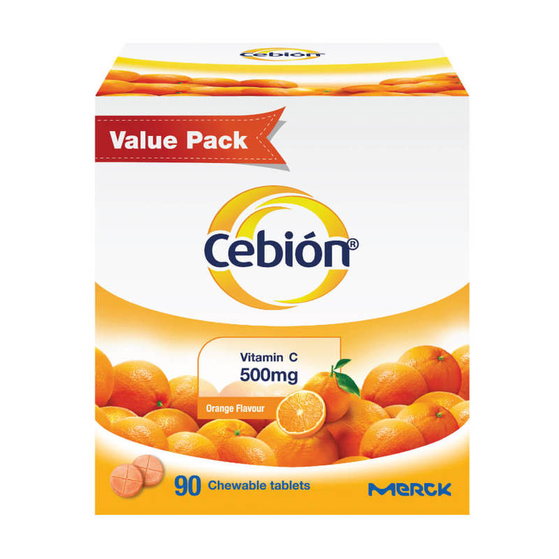 Cebion Vitamin C 500mg Orange Flavour, 90pcs