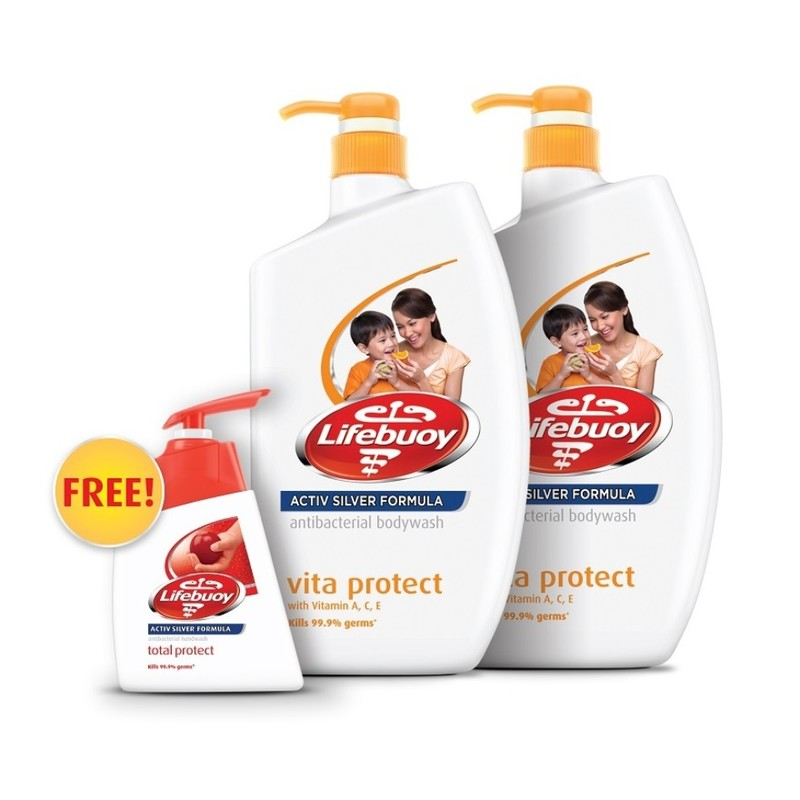 Lifebuoy Antibacterial Body Wash VitaProtect Twin Pack, 2x1L with Free Hand Wash