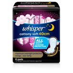 Whisper Cottony Soft Maximum Overnight Protection 40cm, 6pcs