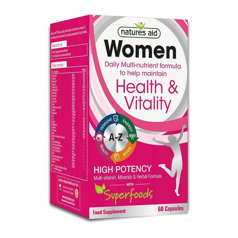 Natures Aid Women's Multi-Vitamins & Minerals with Superfoods, 60 capsules