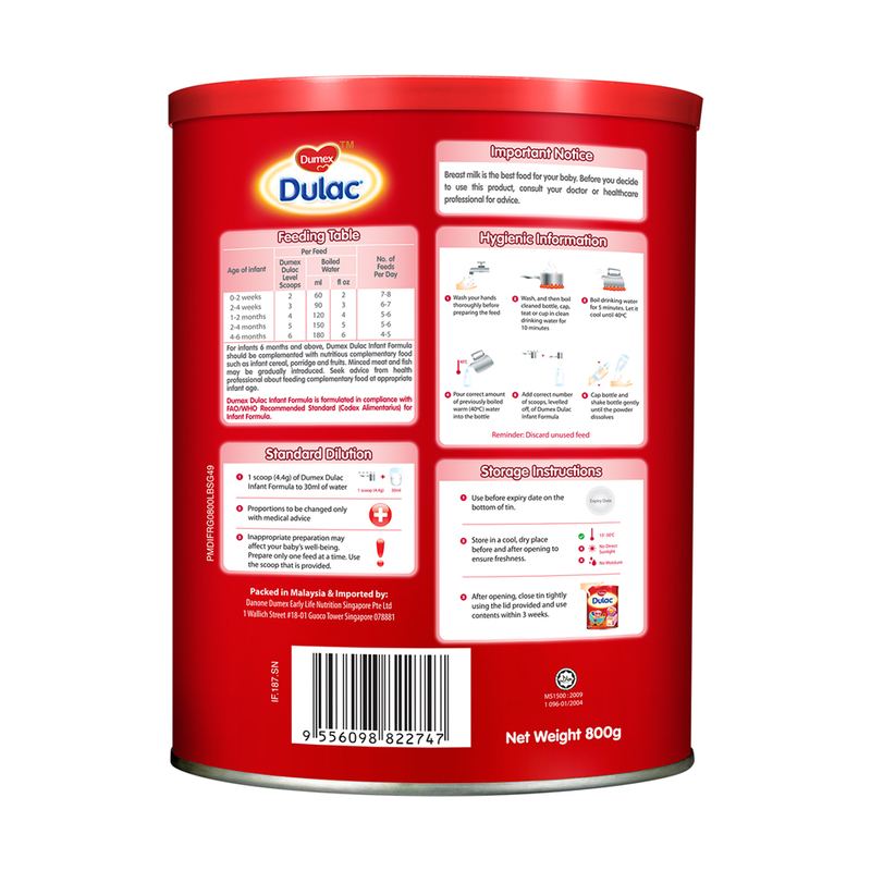 Dumex Dulac Infant Formula Stage 1 (From birth to 6 months) 800g