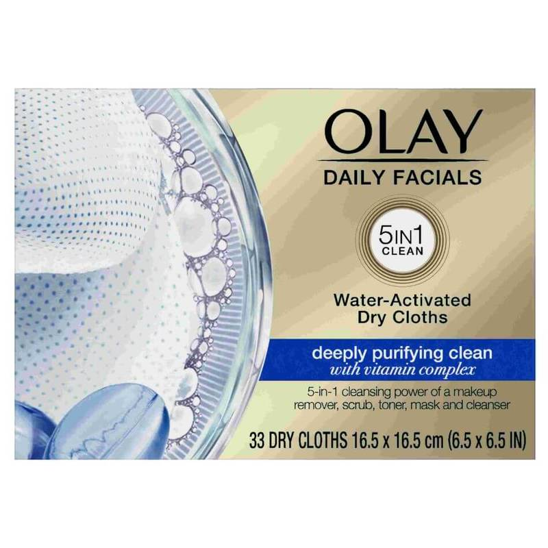 Olay Daily Facials Water Activated Dry Cloths Deeply Purifying Clean 33 pcs