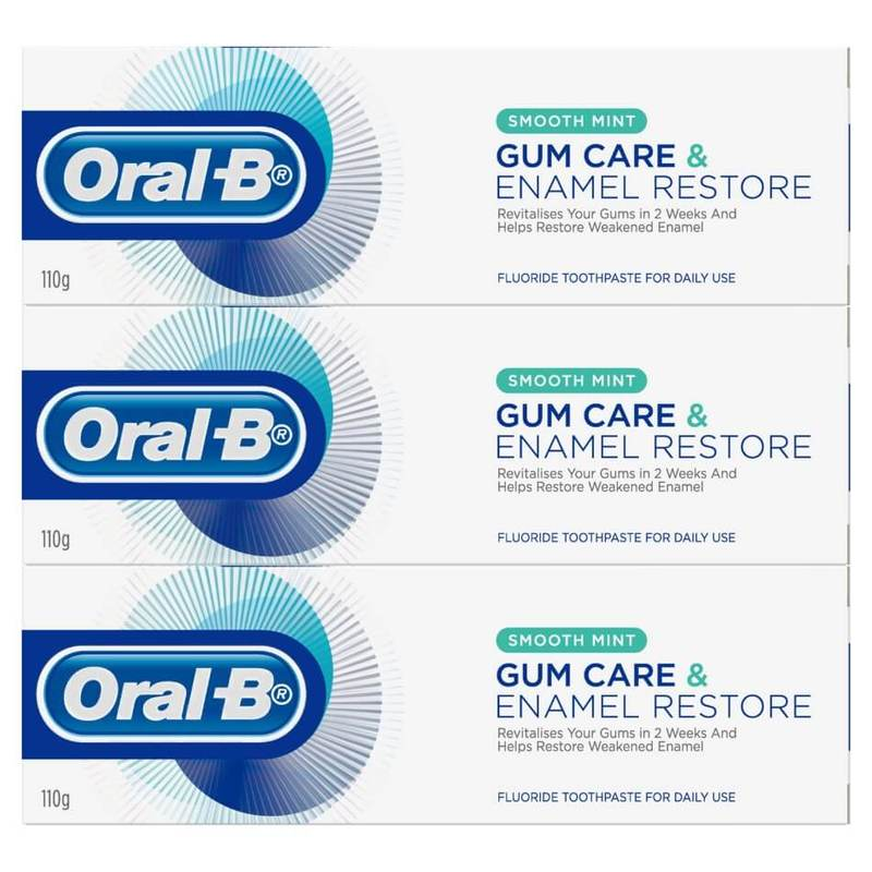 Oral-B Gum Care & Enamel Restore Smooth Mint Toothpaste Triple Pack, 3x110g