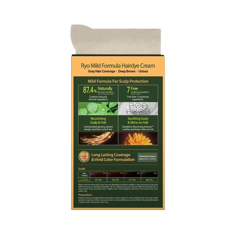 Ryo  Mild Formula Hairdye Cream-4.0 Deep Brown 40g x 3