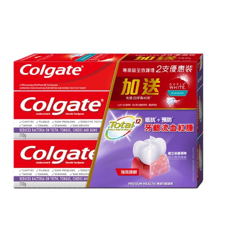 Colgate Total Pro Gum Health White Toothpaste 110g x 2pcs + Optic White 46g