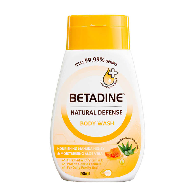 Betadine Natural Defense Nourishing Manuka Honey & Moisturising Aloe Vera Body Wash, 90ml