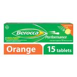 Berocca Performance Vitamin B Orange Energy Effervescent Tablet, 15 tablets