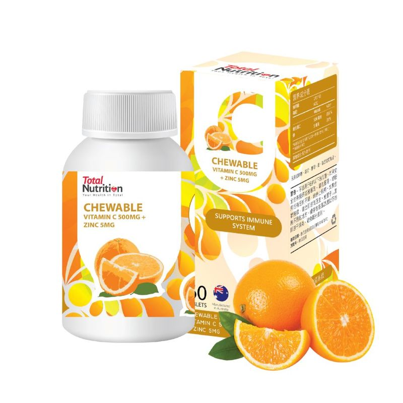 Total Nutrition Chewable Vitamin C 500Mg+Zinc 5Mg 60 Capsules